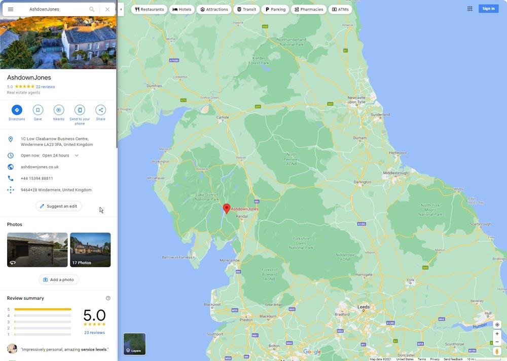 AshdownJones-estate-agents Lake District-google-reviews