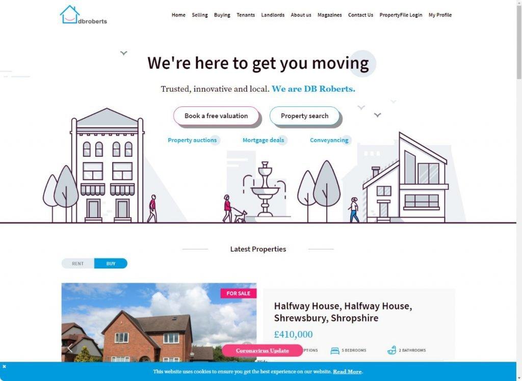 DBRoberts estates agents telford website