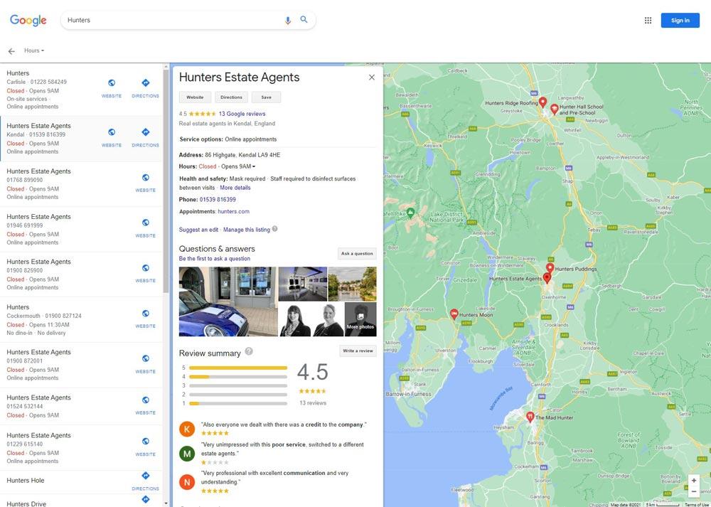 Hunters-estate agents lake district google-reviews