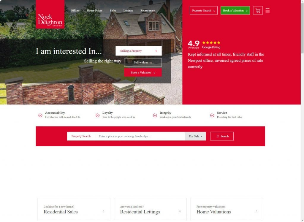 Nock Deighton estates agents telford website