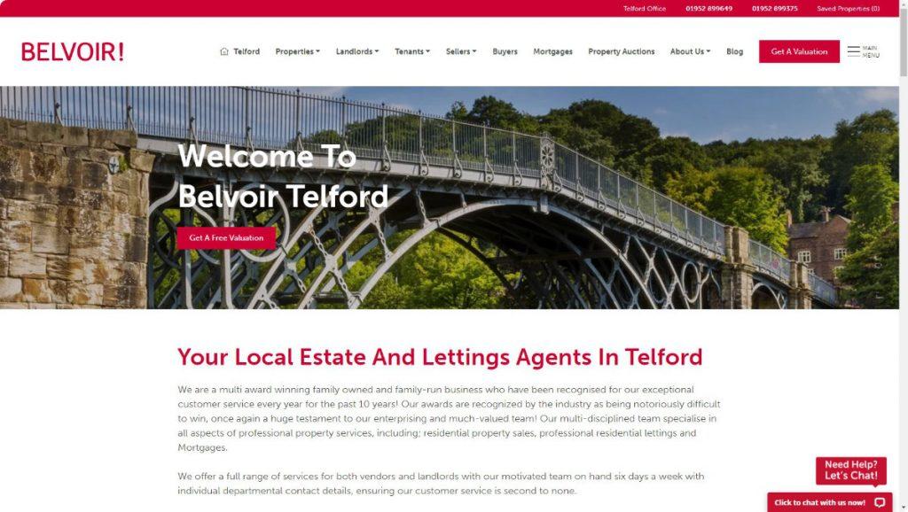 belvoir estate agents telford website