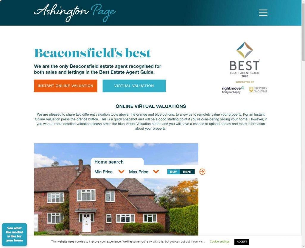 Ashington Page, Beaconsfield estate agents website