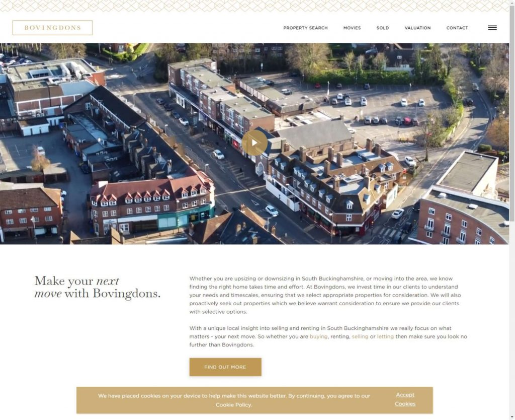 Bovingdons estate agents Beaconsfiled webiste