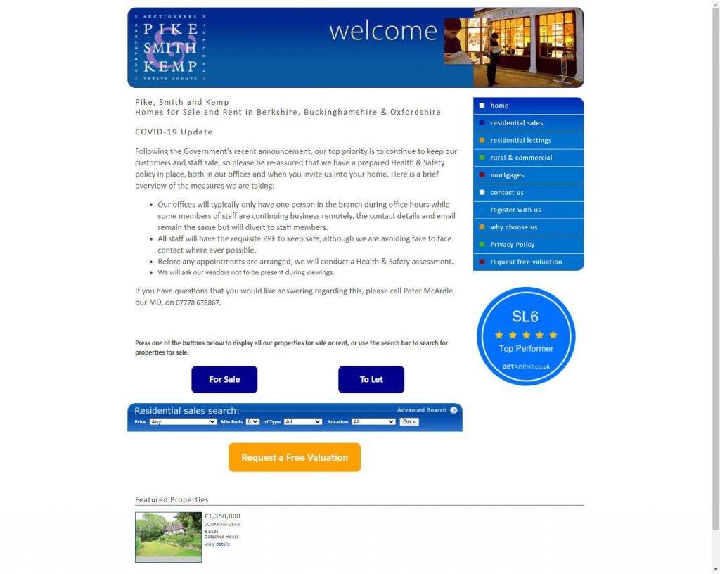 Pike, Smith & Kemp real estate website