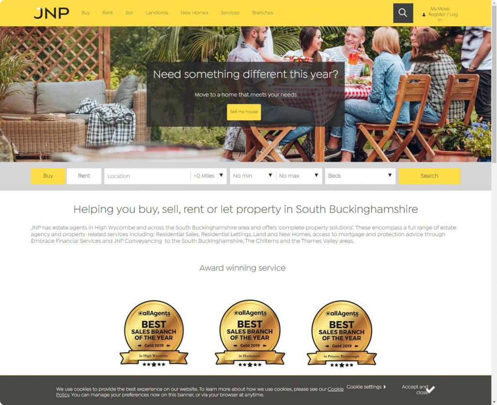 The JNP Partnership estate agents high wycombe website