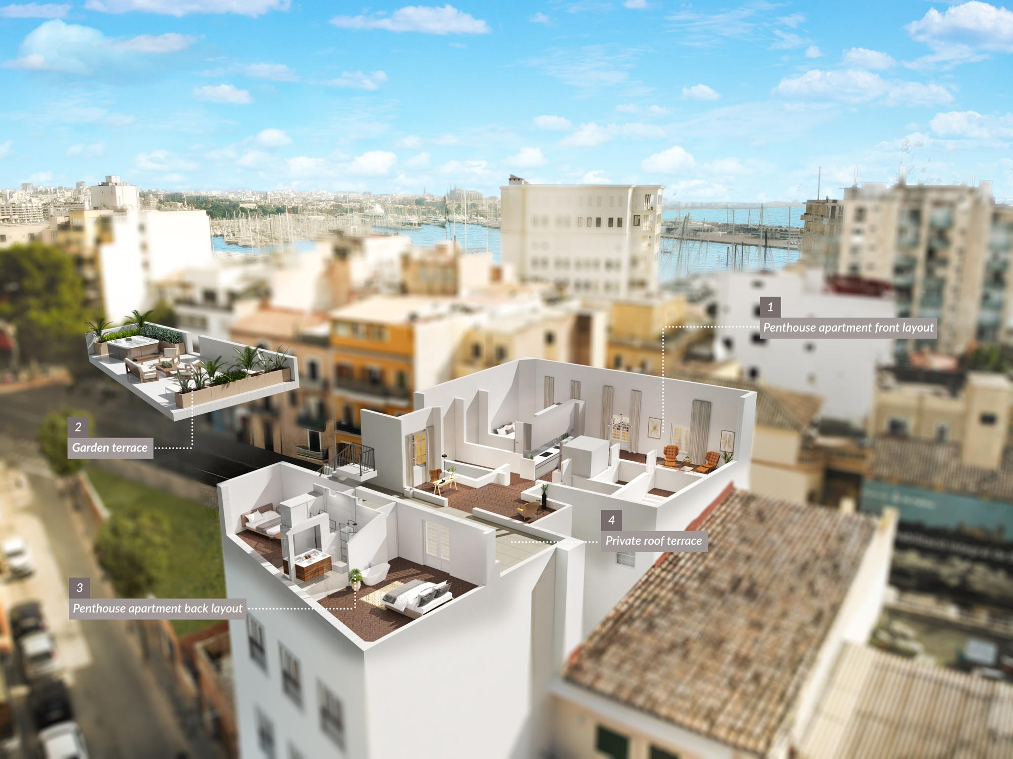 drone rendering residential building
