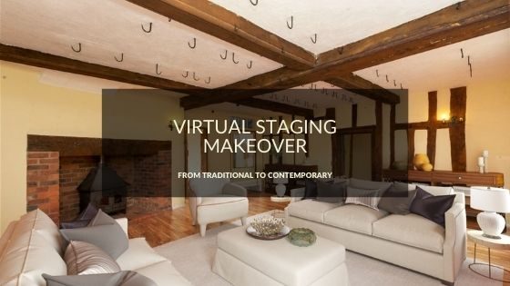 Virtual Staging Makeover –  Traditional Living room